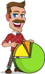 Simple Style Cartoon of a Man with Mustache - with Business graph
