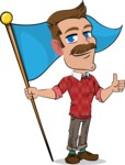 Simple Style Cartoon of a ​Man with Mustache - with Flag
