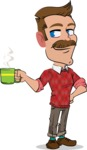 Simple Style Cartoon of a ​Man with Mustache - Drinking Coffee
