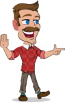 Simple Style Cartoon of a ​Man with Mustache - Pointing with a fnger