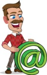 Simple Style Cartoon of a ​Man with Mustache - with Email sign