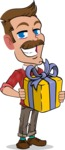 Simple Style Cartoon of a ​Man with Mustache - with Gift box