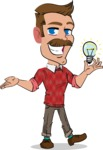 Simple Style Cartoon of a ​Man with Mustache - with an Idea