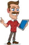 Simple Style Cartoon of a Man with Mustache - Holding an iPad