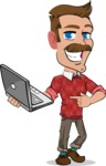 Simple Style Cartoon of a Man with Mustache - Holding a laptop