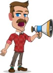 Simple Style Cartoon of a Man with Mustache - Holding a Loudspeaker