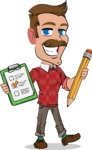 Simple Style Cartoon of a ​Man with Mustache - Holding a notepad with pencil