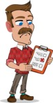 Simple Style Cartoon of a ​Man with Mustache - Holding a notepad