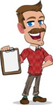 Simple Style Cartoon of a ​Man with Mustache - Smiling and holding notepad