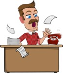 Simple Style Cartoon of a Man with Mustache - Stressed out