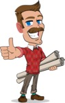 Simple Style Cartoon of a Man with Mustache - Holding Plans