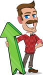 Simple Style Cartoon of a Man with Mustache - with Up arrow