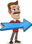 Simple Style Cartoon of a Man with Mustache - with Positive arrow