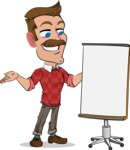 Simple Style Cartoon of a ​Man with Mustache - with a Blank Presentation board