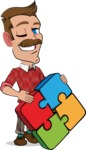 Simple Style Cartoon of a ​Man with Mustache - with Puzzle