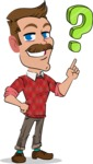 Simple Style Cartoon of a Man with Mustache - with Question mark
