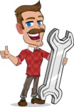 Simple Style Cartoon of a ​Man with Mustache - with Repairing tool wrench