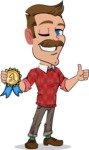 Simple Style Cartoon of a ​Man with Mustache - Winning prize