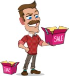 Simple Style Cartoon of a ​Man with Mustache - with Sale boxes