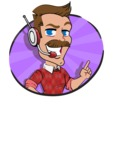 Simple Style Cartoon of a Man with Mustache - Shape 4