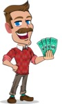 Simple Style Cartoon of a ​Man with Mustache - Holding Money