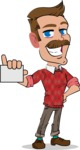 Simple Style Cartoon of a Man with Mustache - with a Blank Business card