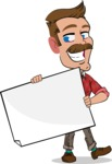 Simple Style Cartoon of a ​Man with Mustache - Holding a Blank banner