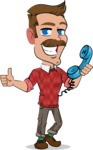 Simple Style Cartoon of a ​Man with Mustache - Holding phone with thumbs up