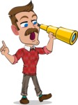 Simple Style Cartoon of a ​Man with Mustache - Looking through telescope