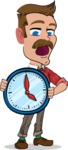 Simple Style Cartoon of a Man with Mustache - Holding clock