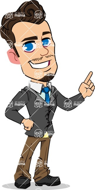 Simple Style Cartoon of a Businessman with Goatee - Making a point