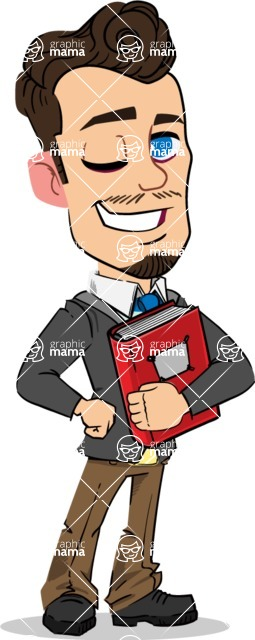 Simple Style Cartoon of a Businessman with Goatee - Holding a book