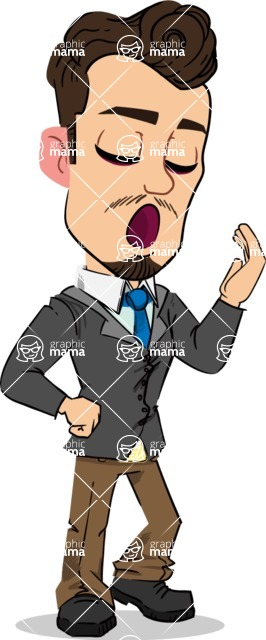 Simple Style Cartoon of a Businessman with Goatee - Feeling Bored