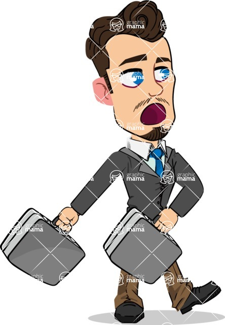 Simple Style Cartoon of a Businessman with Goatee - with Two briefcases
