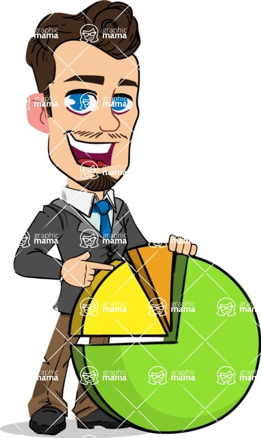Simple Style Cartoon of a Businessman with Goatee - with Business graph