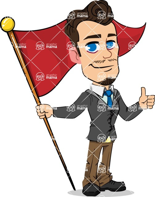 Simple Style Cartoon of a Businessman with Goatee - with Flag