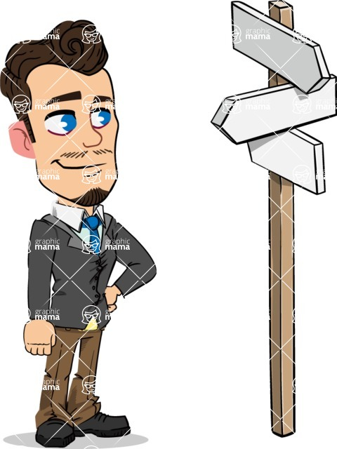 Simple Style Cartoon of a Businessman with Goatee - on a Crossroad with sign pointing in all directions