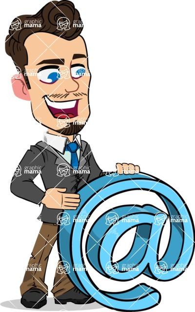 Simple Style Cartoon of a Businessman with Goatee - with Email sign