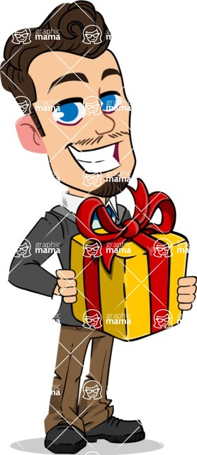 Simple Style Cartoon of a Businessman with Goatee - with Gift box