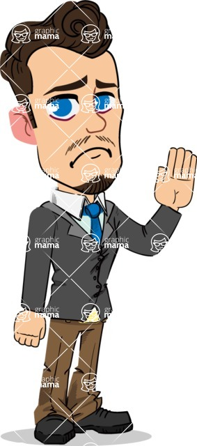 Simple Style Cartoon of a Businessman with Goatee - Waving for Goodbye with a hand