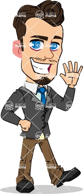 Simple Style Cartoon of a Businessman with Goatee - Waving for Hello with a hand