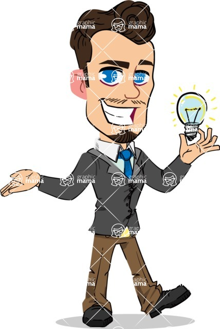 Simple Style Cartoon of a Businessman with Goatee - with an Idea