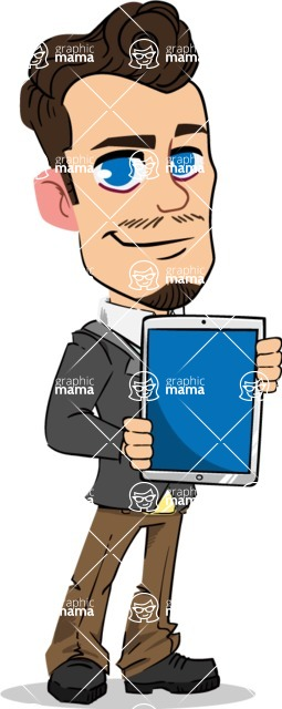 Simple Style Cartoon of a Businessman with Goatee - Holding tablet