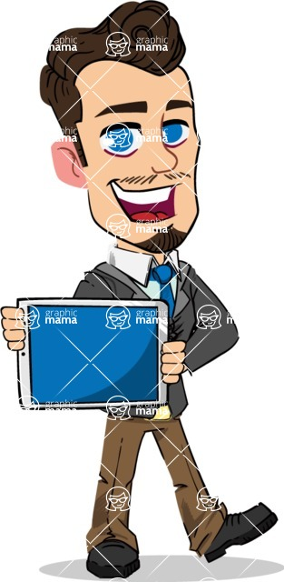 Simple Style Cartoon of a Businessman with Goatee - Showing tablet