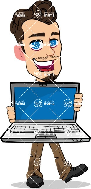 Simple Style Cartoon of a Businessman with Goatee - Showing a laptop
