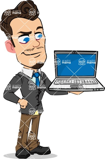 Simple Style Cartoon of a Businessman with Goatee - Presenting on laptop