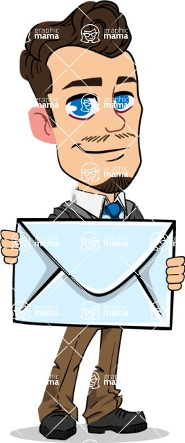 Simple Style Cartoon of a Businessman with Goatee - Holding mail envelope