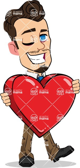Simple Style Cartoon of a Businessman with Goatee - Holding heart