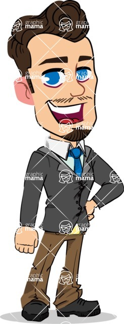 Simple Style Cartoon of a Businessman with Goatee - Smiling