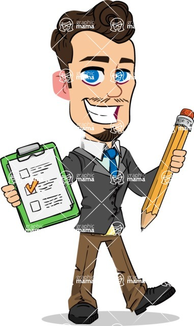 Simple Style Cartoon of a Businessman with Goatee - Holding a notepad with pencil